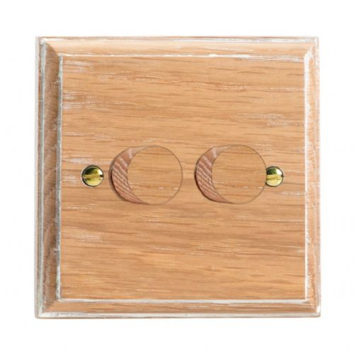 Varilight HK4LO Kilnwood Limed Oak 2 Gang 2-Way Push-On/Off Dimmer 40-250W V-Dim
